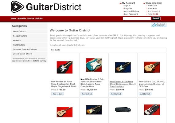 Guitar District is a virtual storefront I created. Picking up bits (perhpas bytes) of coding along the way from                                                                                       coder friends or Stack Overflow, a well managed site was born with over 10,000 customers along the way.                                                                                       <p><a href=http://GuitarDistrict.com target=_blank>Guitar District</a>
